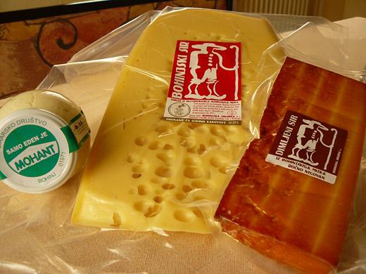mohant, bohinjski sir, dimljeni sir