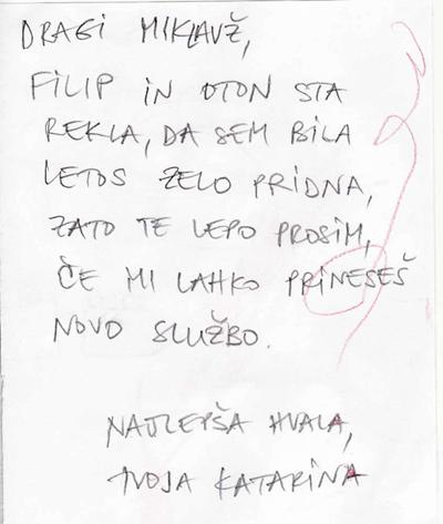 Katarina piše Miklavžu